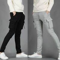 Men jogging pants - 2015 NWT Mens Pants Casual Skinny Jogging Training Long Pockets Light Grey Black M XXL X71