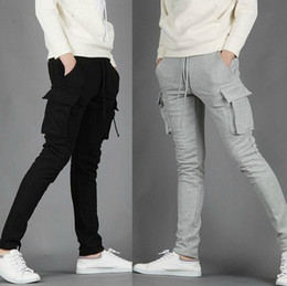Wholesale 2015 NWT Mens Pants Casual Skinny Jogging Training Long Pockets Light Grey Black M XXL X71