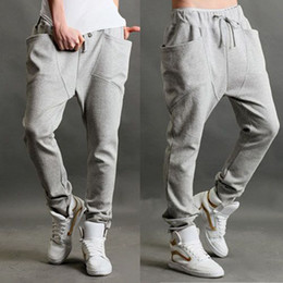 Wholesale HOT Men s Casual Rop sports pants Harem trousers pants training baggy Cotton M XL Free Ship