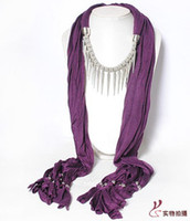 Wholesale Sexy women tassel pendant scarf necklace cotton shawl wrap jewelry scarves collar pure color xmas