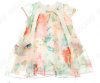 Wholesale Baby girl kids summer floral silk chiffon dress floral tutu dress fluffy flower jumpsuit beautiful
