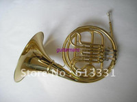 Wholesale best music NEW key Double French Horn Gold Lacquer F Bb Brass body with case in stoc