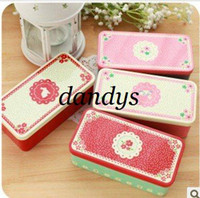 Wholesale Freeshipping New lace flowers iron case tin storage case metal wedding candy box fashion gift