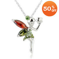 austrian holidays - 18k gold Gold Plated austrian crystal Necklce fairy pendant fashion jewelry holiday sale