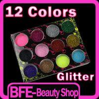 Wholesale AJ501 Hot item12 Color Glitter Acrylic Powder Dust Nail Art Tip Acrylic UV Gel Decoration Makeup Free Ship