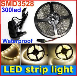 5M 60led m Flexible 3528 SMD LED Strip Light warm White Waterproof 300LED rope light + power supply