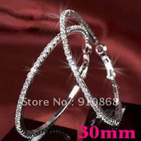Silver wholesale basketball wives earrings - Hot Basketball wives Hoop Earrings Silver Polish Row crystals women earring jewelry