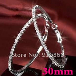 Wholesale Hot Basketball wives Hoop Earrings Silver Polish Row crystals women earring jewelry