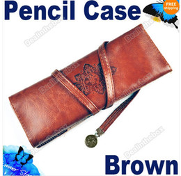 Wholesale New Vintage Moon Synthetic Leather Pencil Cosmetic Case Pen Pouch Brown