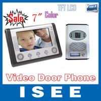 Wholesale 7 Inch Video Door Phone Doorbell Intercom Kit camera monitor Night Vision video intercom system