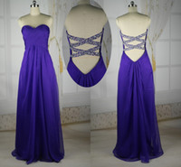 Wholesale Sweetheart Cross Back A line Floor Length Pleated Crystal Beads Sequins Prom Dresses