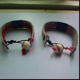 2018softballsunny jewelry factory real leather softball red stitching yellow bracelets