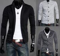 2017 Hommes Slim Blazers Designs Costumes Pour Hommes One Button Stand-up Collier Coréen Vestes Pour Hommes Tricotés