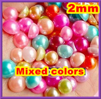 Wholesale half round pearls MM Flat back Jewelry Garment Accessory Beads DIY nail art phone beauty