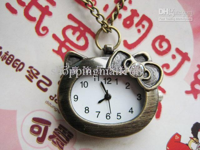 Cheap Pocket Watch - Wholesale Cat Vintage Cartoon Necklace ...anoword 0kitty