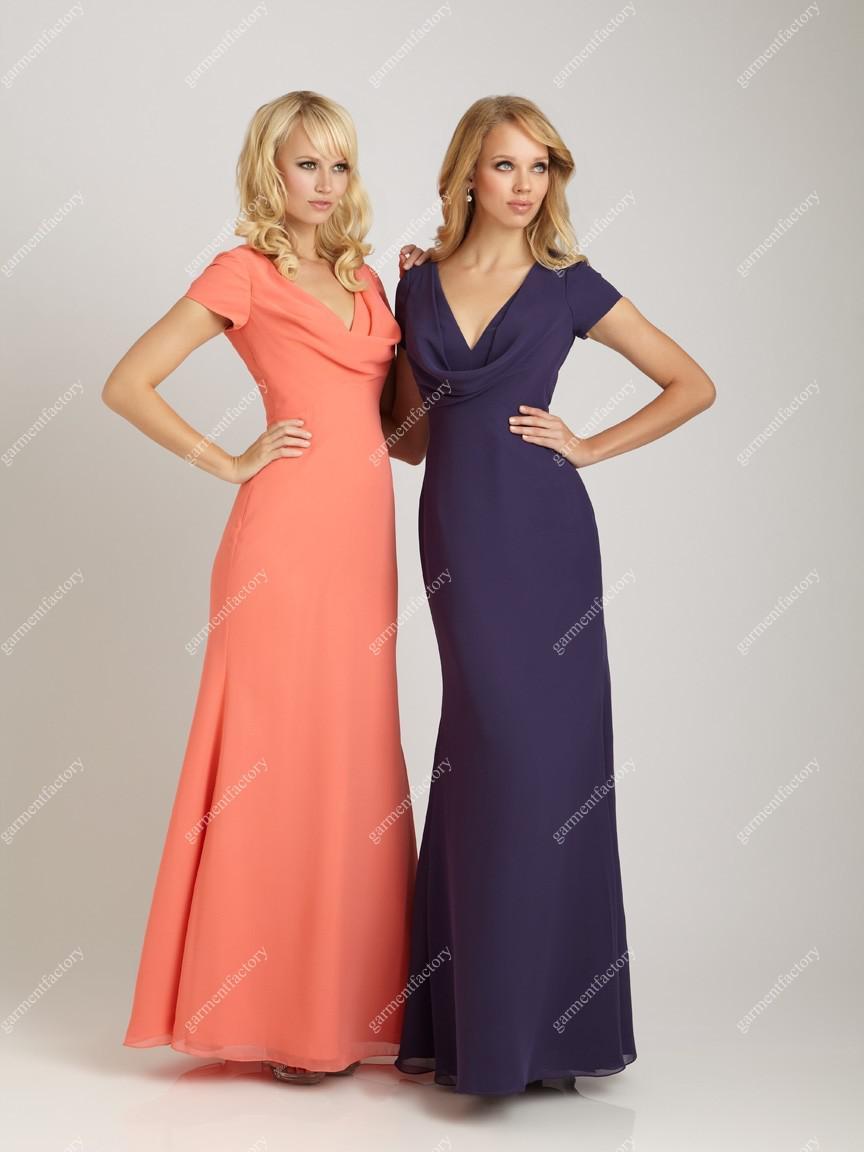 Short Sleeve Bridesmaid Dress Draped V Neckline A Line Purple ...