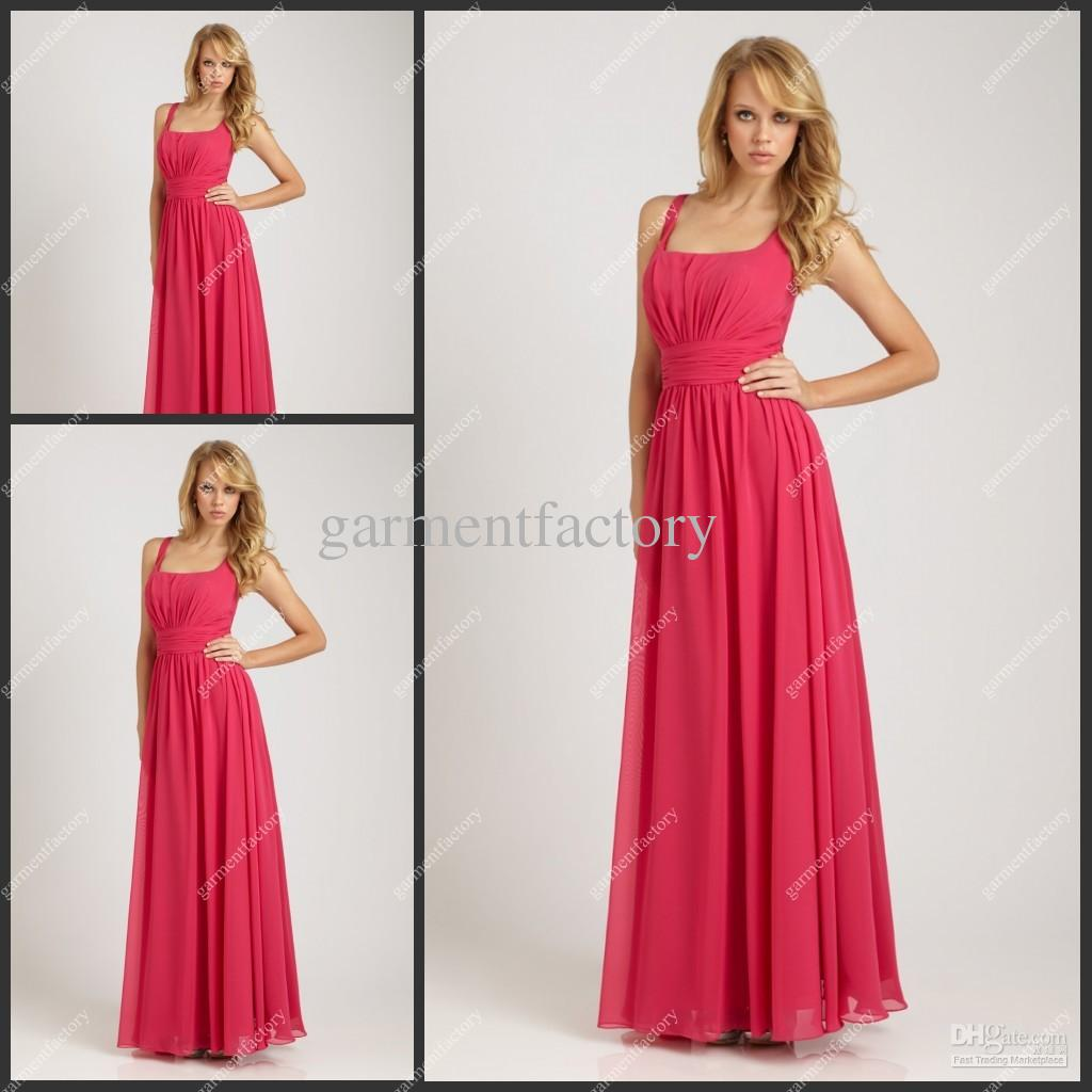 Bridesmaid Dress Patterns Square Neckline A Line Hot Pink Chiffon ...