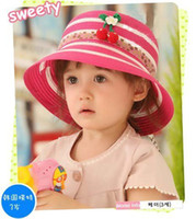 Wholesale 2012 new fashion Natural straw sun hat Child girls brimmed cap Pink rosy red beige