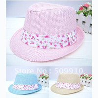 Wholesale children summer and spring fedora hat baby strawhat child s sun cap baby top hat kids dicer fedo