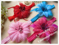 Flower Hair Bows 1-50piece/lot 3.5inch Artifical Flower with clips 0.7inch Baby Knitted Ribbon Headband Stroch Hair Band Hairclip H