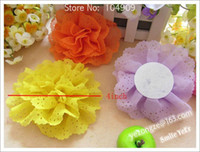 Wholesale 8 Color inch Baby Girl Chiffon Ruffles Hair Flowers without Hairclips Children Satin Flower No Bar