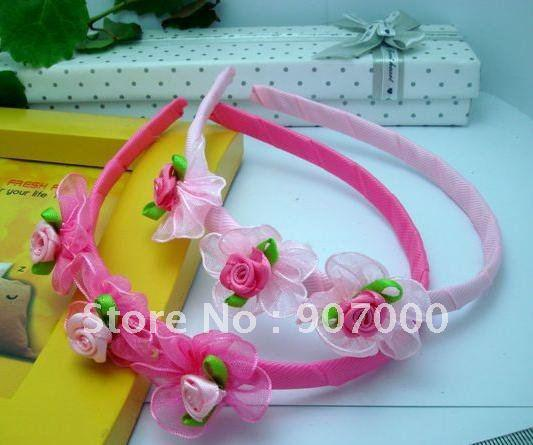 Yarn ting rose kids hairbands/headbands.pink and red ribbon flower baby hair accessories/headwear,To