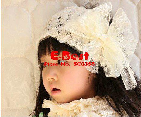 Wholesale Cute Design!!3pcs/lot baby girl lace headband baby cute lace hairwears kids lace bow hairband childr