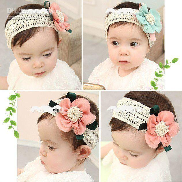 Baby girls rose flower hairband, children Lace rose headband baby flower hair bows baby hair accesso