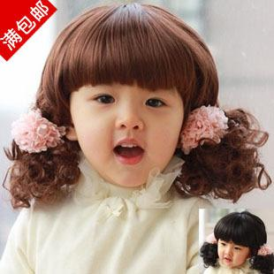 Free Sample ! Child hair wig ,baby long curly hair wig high quality wig, Black ,Brown colors ,2 Si