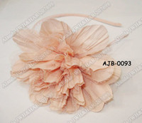alice crochet - 12pcs quot large plicated chiffon flower headband alice band brown green ivory