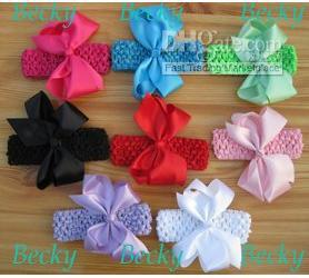 48 Boutique 4.5~5'' Hair Bows Clips With 48 Crochet Headbands Girl Toddler 8 colors