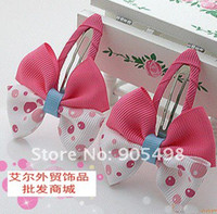 Wholesale H35 Baby Hairpins Children Design Mixed style baby pink white Butterfly Bow Hairclips Student Kid