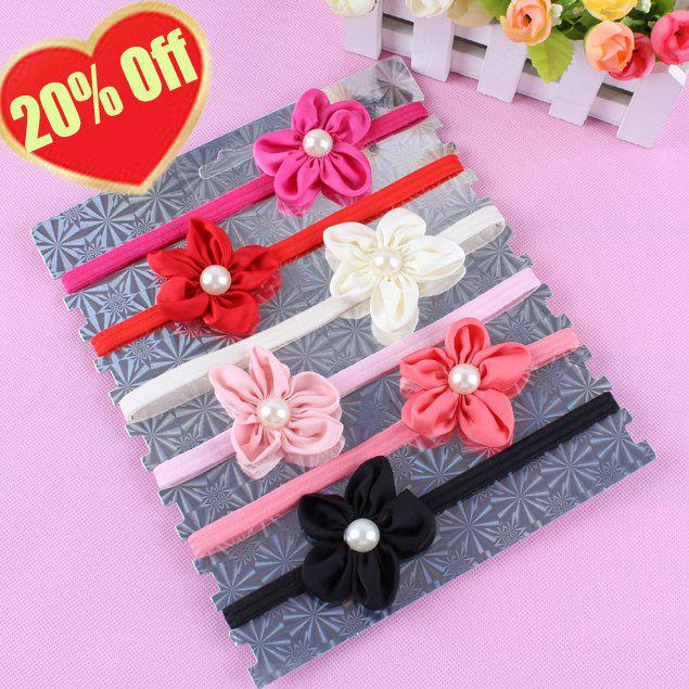 Free Sample Hair band Baby Girl Vintage Flower Headbands With Pearl in center Newborn Headbands 30
