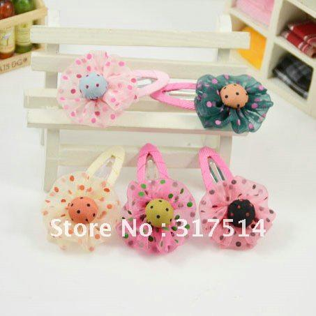 Wholesale Fashion Flower Bow BB Hair Clip Hair accessory / 5 COLORS 100pcs/lot Free Sample