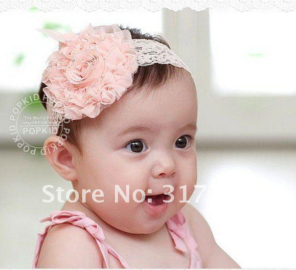 Wholesale FREE SHIPPING BABY MESH ROSE FLOWER HEADBANDS CHILDRENS HAIR ACCESSOIRES PINK COLOR 10PC/L