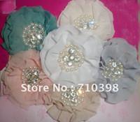 achat en gros de free appliques crochet fleurs-Livraison gratuite ( 60pcs / 6colors ) environ 3 pouces strass parisienne volants appliques rondes cheveux fleur d'esprit