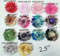Wholesale 2 quot chic frayed shabby chiffon rose flower trim YDS PRINTS for SELECTION BY DH
