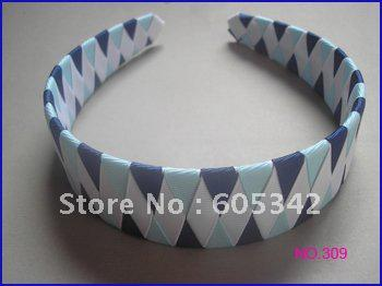 Wholesale 40 Pcs/Lot 1 INCH wide woven headband in Light Blue, Navy and White + EMS Free Sample