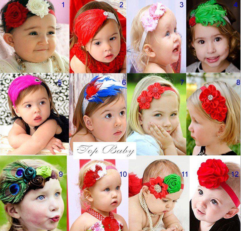 Free sample by EMS New arrive fashion flower and feather Baby girl headband.. newborn He