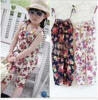 Wholesale free shippi girl s summer suspender pant girl s flower Jumpsuits baby overalls girl trousers childre