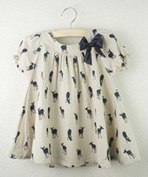 Wholesale Cherokee Girls Dress Short Sleeve Printed Deer Cotton Fashion Bowknot Dresses Khaki