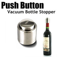 Wholesale Stainless Steel Push Button Wine Tool Bottle Stopper Vacuum Sealed Christmas gifts