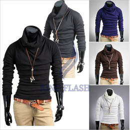 Wholesale Korea Men s Casual Slim Fitting Dress Shirts long sleeve cotton T shirt Tee Tops Coffee Size