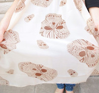 Wholesale 3 Colors Skull Chiffon Scarf Woman Retro Print Shawl Long Scarfs pieces