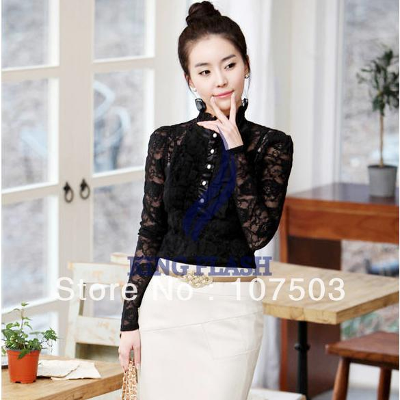 White Lace High Neck Blouse 66