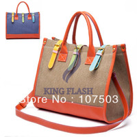 Wholesale New Fashion Women Casual Design Blue Khaki Canvas Large Shoulder Handbag tote Bag Purse drop shipping