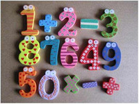 Wholesale Children s creative gifts toys wooden magnetic stickers digital wood Fridge magnets V7160