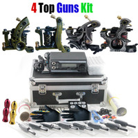 Wholesale Professional Tattoo Kit Top Machine Gun Power Supply Needle Grip Tip Case TKP401