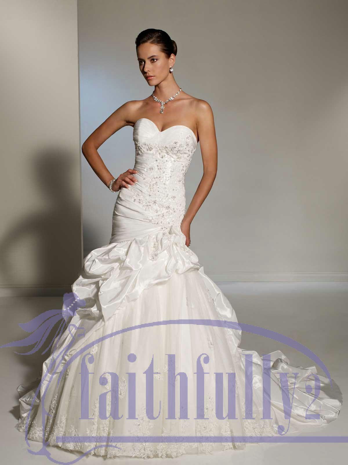 2013 Unique Sweetheart Mermaid Bustled Wedding Dresses