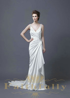 accent gardens - Sheath Charmuse Bridal Dress Double Straps Court Train Lace Over Side Beaded Accent Cowl Back Ruffle